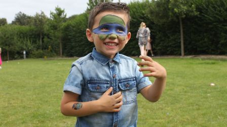 Two-and-a-half-year-old Jameson having fun at Sheringham carnival prince and princess selection disc
