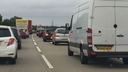 Queues of traffic on the A11. Submitted