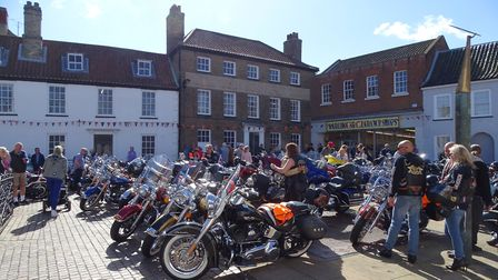 Harley Davidsons on show in Fakenham town centre, Saturday morning. Picture: Paul Reynolds