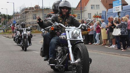 Harley Davidson riders arrive at Sheringham after travelling from Fakenham via Stiffkey, Cley and We