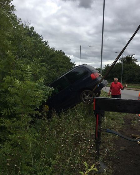 Recovery on scene near Shoreboat roundabout in King's Lynn following a one-vehicle collision. Pictur