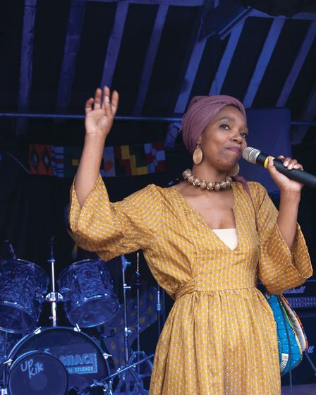 Festival founder Anna Mudeka on stage at the 2017 Southburgh Festival of World Music. Picture: GIDEO