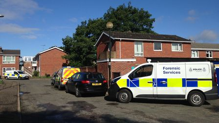 """Police at the scene of a """"unexplained"""" death at a property in Godric Place in Norwich. Picture Emma"""