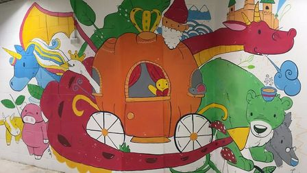 Artist Grace Sandford has transformed the Kastle Kids Club area at Castle Mall with a new mural. Ph