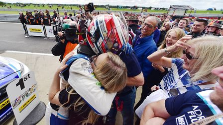Ashley Sutton celebrates his victory in race one at Snetterton of the British Touring Car Championsh