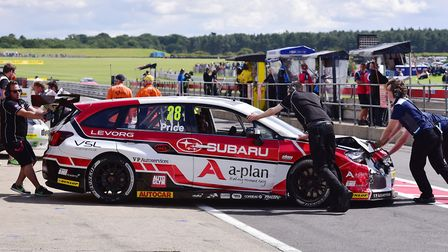Josh Price lets his Subaru Levorg GT engineers get to work after retiring in race one after four lap