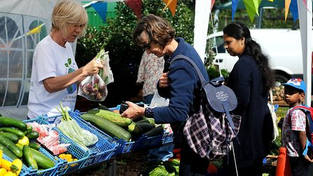 The produce stall was busy at the Hunstanton Allotments open day. Picture: Chris Bishop