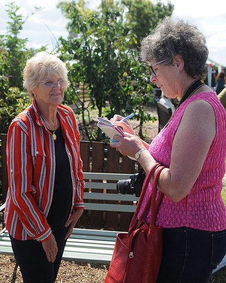 Angie Stray (left) is interviewed by Elaine Bird from Town and Around. Picture: Chris Bishop