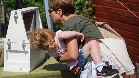 A woman and her child enjoy the bee-keeping display. Picture: Chris Bishop