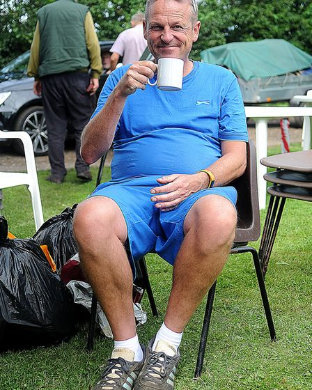 Mike Shaw enjoying a cuppa after the allotment open day at Hunstanton. Picture: Chris Bishop