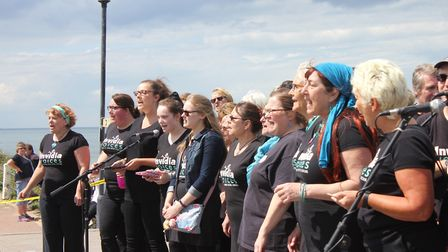 Invidia Voices rock and soul choir perforning on Sheringham carnival crowning day. Picture: KAREN BE