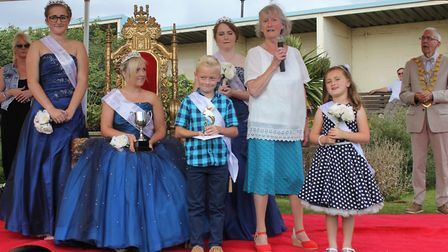 Sheringham carnival royal family with former district councillor Hilary Nelson. Picture: KAREN BETHE