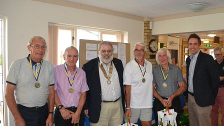 Swaffham Golf Day winners Lenwade Electrical - Keith Wright, Tony Chambers, Ron Kent and Harold Nobb