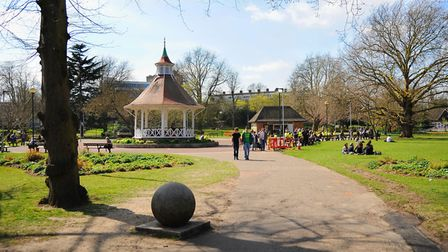 Chapelfield Gardens in Norwich, one of the open spaces in the city bringing people happiness. Pictur