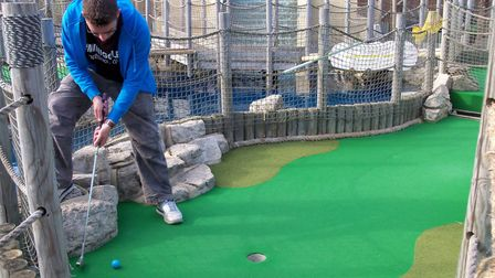 Richard Gottfried at Lost World Adventure Golf in Hemsby. May 6, 2011. Picture: R&E Gottfried