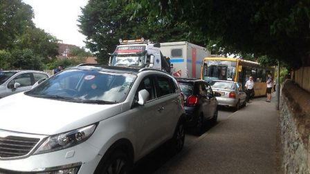 Traffic chaos in Overstrand Road, Cromer. Picture: Audrey Smith