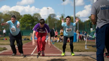 Stephen Eastaugh, left, and Cameron Lain, right, competing in standing long jump at the recent Norfo