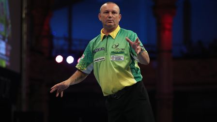 Darren Webster was beaten by Peter Wright in the World Matchplay in Blackpool. Picture: Lawrence Lus