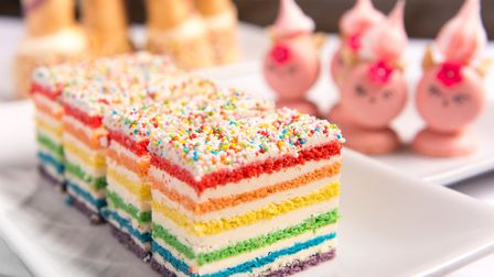 Rainbow Unicorn Afternoon Teas that will be on the menu at the Assembly House, Norwich. Photo : Stev