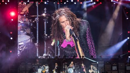 Final night headliners Aerosmith on stage at 2017's Download Festival. Picture: Ben Gibson/Download