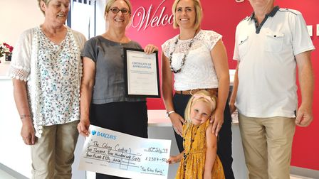 Zoe Ryder and daughter Saffire, with parents Christine and Herbert Parker and Dr Nicola Holtom. Phot
