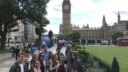 Members of the Broadland and Norwich Youth Advisory Boards outside the Houses of Parliament where th