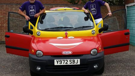 Terry Brooks and son Jack who will be driving across Europe in a £300 Fiat Multipla for EACH. Mr Bro