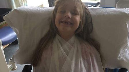 Jacee Fisk, who broke both of her collarbones in a crash on the A140 last week. Picture: SUPPLIED BY