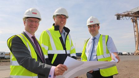From left, James Wilson, director of RG Carter, Sean Chenery, Galloper operations and maintenance ma