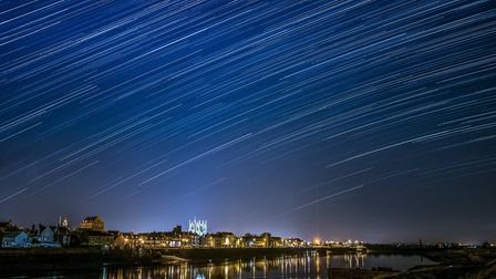 Star trails above King's Lynn Waterfront as viewed from West Lynn. Picture: Matthew Usher.