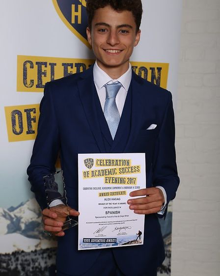 Alex Hagag Y10 our Head Boy and winner of Excellence in Spanish, History and Chris Coubrough, Flying