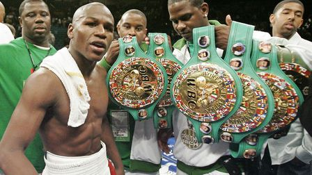 Floyd Mayweather Junior is 49-0 as a boxer and has held world titles at multiple weights. Picture: A