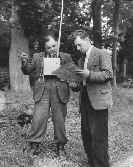 Thetford Forest and forestry. Pictured: Walkie-talkie used for anti-fire excercise. Date: 1953. Pict