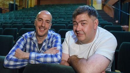 The Nimmo Twins, Karl Minns, left, and Owen Evans, in the newly refurbished auditorium at the Norwic