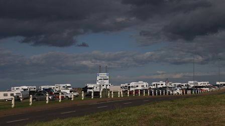 More than two dozen motorhomes took up camp in Runton Road car park in Cromer. Picture: Ally McGilvr