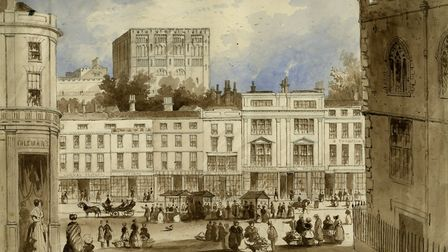 Unknown artist, Norwich Castle and part of the Market Place, c.1840, brown and blue wash on paper