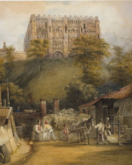 James Bridges, Norwich Castle during refacing of Keep, with stonemason�s yard in foreground, 1833, w