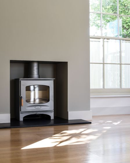 The wood-burning stove, with a stone hearth. Picture: courtesy of Sowerbys