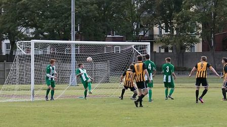 Lee Roots scores the winner for Great Yarmouth Town against Basildon United. Picture: Great Yarmouth