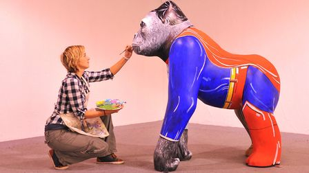 The EDP prize winning GoGoGorilla! design by Sally Adams which was painted onto the sculpture by art