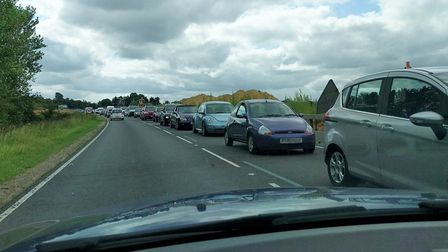 The traffic caused by the closure of Holt Road. Photo: Jo Clark