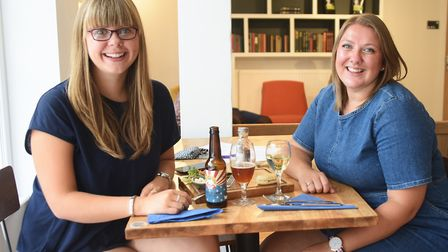 Louise Jackson, left, and Joy Hartles enjoy lunch at the Mitre pub and café which has reopened in Ea