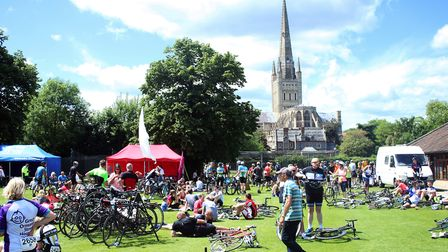 The finish of the Norwich 100/50 Cycle event at Norwich Cathedral in June. Photo by Peter Dent.