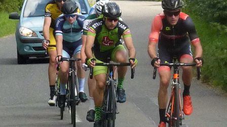 The leading break at the Mid Suffolk Road Race with Seb Herrod (in green) and winner Chris Crabtree