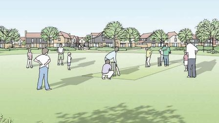 An artist's impression of the village green, part of the planned 4,000 development for Attleborough.