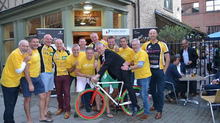 Some of the cyclists with Wooden Spoon chairman Seamus Farrelly. Photo: Seamus Farrelly.
