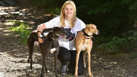 Amanda Stimpson from Acle with her two dogs Oakey and Maggie. She has started a dog walking and pet
