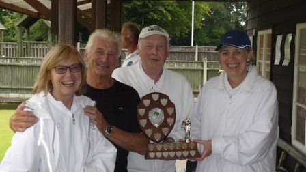 From left, Brenda Walters, John Hardy and Jack Walters with Hethersett Social Bowls Club chair Carol
