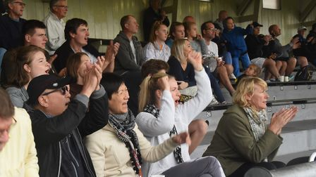 Great Yarmouth fans celebrate a goal at the FA cup game between Great Yarmouth and Diss. Picture: DE