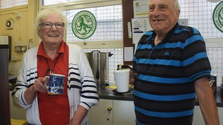 Nita and Trevor Girling who dished out the tea at half time and after the FA cup game between Great